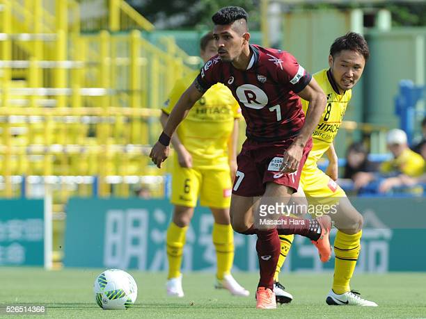 Pedro Junior of Vissel Kobe in action during the JLeague match between Kashiwa Reysol and Vissel Kobe at the Hitachi Kashiwa soccer stadium on April...