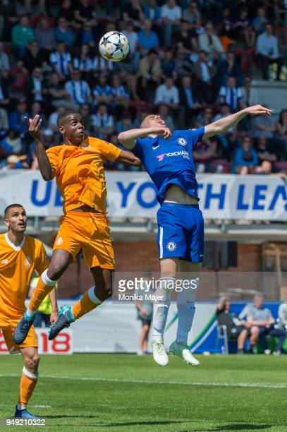 Pedro Justiniano of FC Porto vies with Jacob Maddox of Chelsea FC during the semifinal football match between Chelsea FC and FC Porto of UEFA Youth...