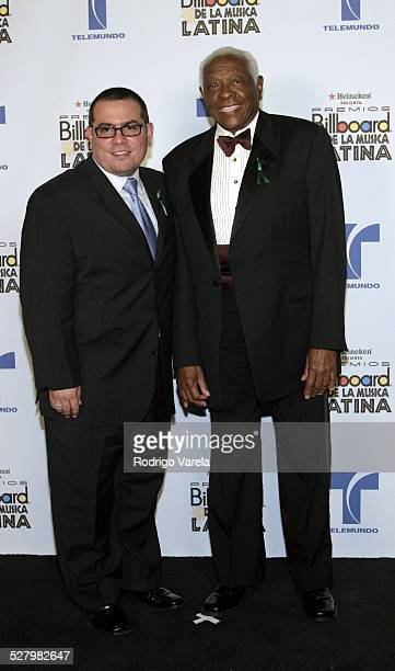 Pedro Knight and guest during 2004 Billboard Latin Music Awards Press Room at The Miami Arena in Miami Florida United States