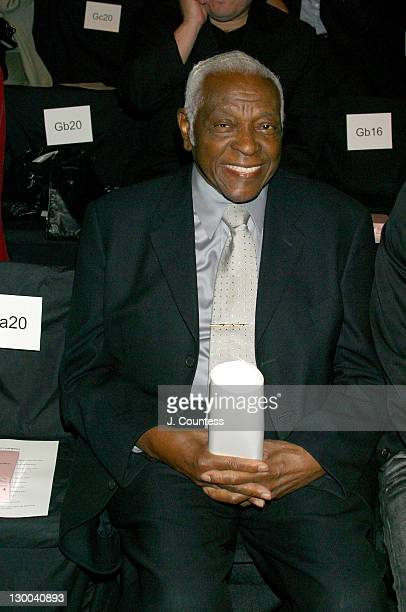 Pedro Knight during MercedesBenz Fashion Week Spring 2004 Narciso Rodriguez Front Row at Gertrude Tent Bryant Park in New York City New York United...