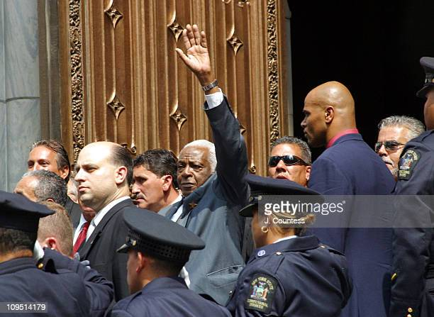 Pedro Knight exits St Patrick's Cathedral following funeral services for his wife Celia Cruz