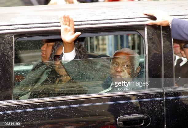 Pedro Knight husband of Celia Cruz bids farewell to the crowd following Celia Cruz's funeral at St Patrick's Cathedral