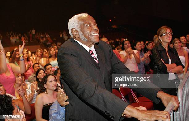 Pedro Knight husband of Celia Cruz during Paulina Rubio Concert Backstage and Audience at James L Knight Center in Miami Florida United States