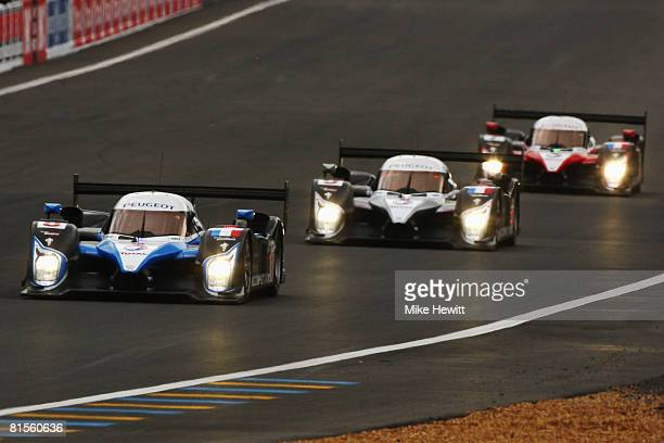 Pedro Lamy of Portugal and Team Peugeot leads the field at the start of the 76th running of the Le Mans 24 Hour race at the Circuit des 24 Heures du...