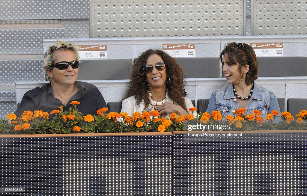 Pedro Lazaga, Rosario Flores and Elena Furiase attend the Mutua Madrid Open tennis tournament at La Caja Magica on May 12, 2013 in Madrid, Spain.