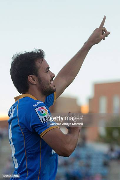 Pedro Leon of Getafe CF celebrates scoring their second goal during the La Liga match between Getafe CF and Real Betis Balompie at Coliseum Alfonso...