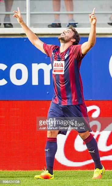 Pedro Leon of SD Eibar celebrates after scoring goal during the La Liga match between SD Eibar and Valencia CF at Ipurua Municipal Stadium on August...