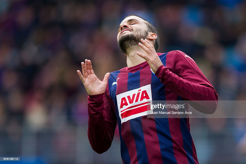 Pedro Leon of SD Eibar reacts during the La Liga match between SD Eibar and Deportivo Alaves at Ipurua Municipal Stadium on December 11, 2016 in Eibar, Spain.