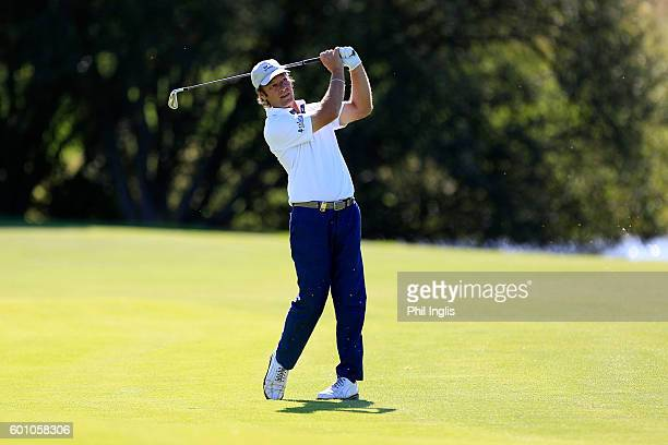 Pedro Linhart of Spain in action during the first round of the Paris Legends Championship played on L'Albatros course at Le Golf National on...