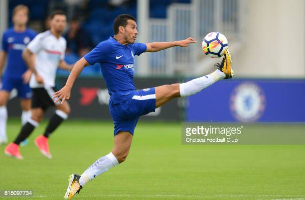 Pedro lunges for the ball during a match between Chelsea and Fulham at Chelsea Training Ground on July 15 2017 in Cobham England