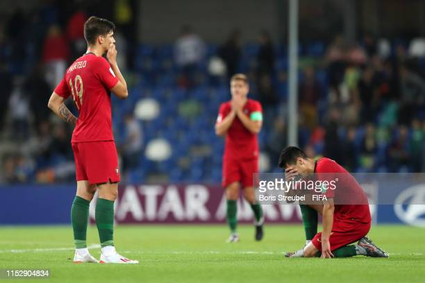 Pedro Martelo of Portugal and Diogo Leite of Portugal looks dejected following their draw in the 2019 FIFA U20 World Cup group F match between South...