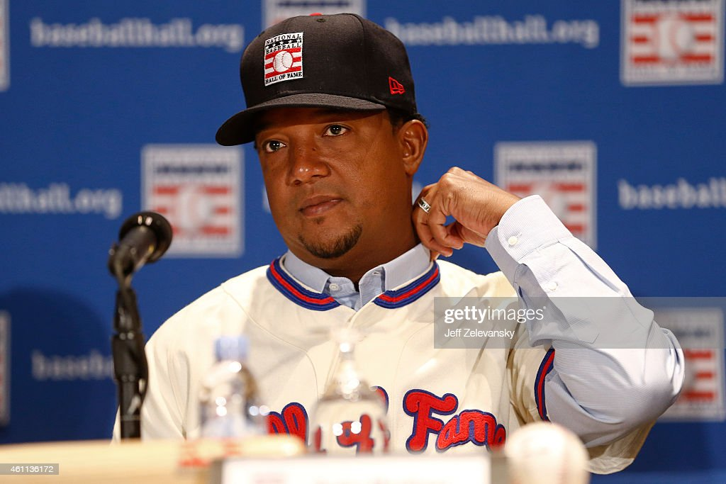 Pedro Martinez addresses the media at the news conference for the 2015 Baseball Hall of Fame inductees January 7, 2015 in New York.