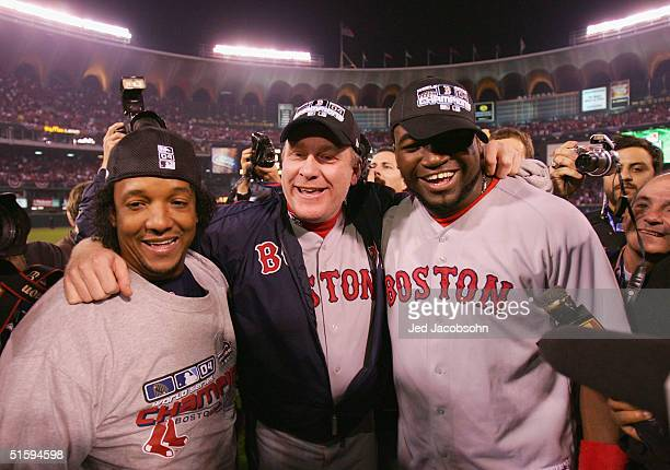 Pedro Martinez, Curt Schilling and David Ortiz 34 of the Boston Red Sox celebrate after defeating the St. Louis Cardinals 3-0 in game four of the...