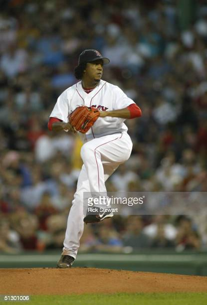 Pedro Martinez of Boston Red Sox delivers against the Texas Rangers on September 3 2004 at Fenway Park in Boston Massachusetts