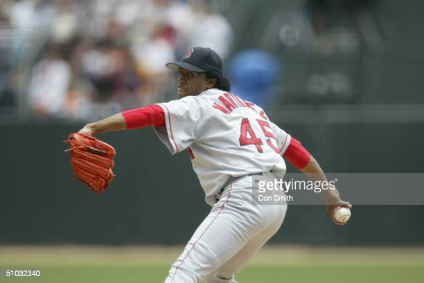 Pedro Martinez of the Boston Red Sox pitches during the MLB game against the San Francisco Giants at SBC Park on June 19 2004 in San Francisco...
