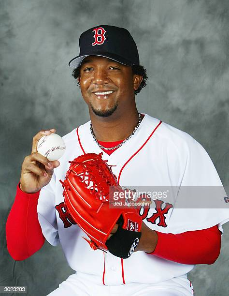 Pedro Martinez of the Boston Red Sox poses for a portrait during Photo Day at their spring training facility on February 28 2004 in Ft Myers Florida