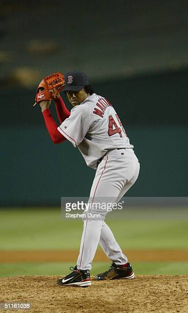 Pedro Martinez of the Boston Red Sox throws against the Anaheim Angels on June 2 2004 at Angel Stadium in Anaheim California The Angels defeated the...