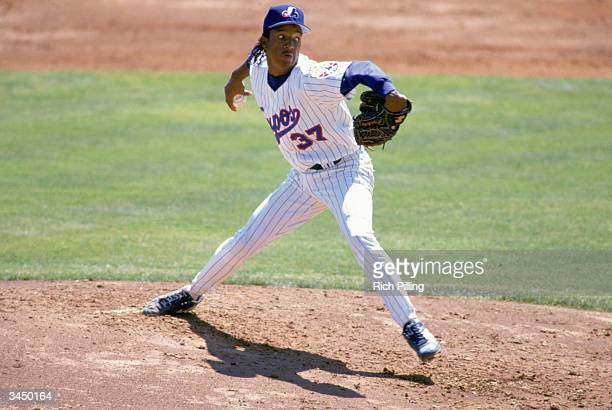 Pedro Martinez of the Montreal Expos pitches during a 1994 spring training game