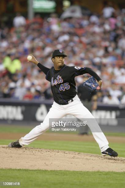 Pedro Martinez of the New York Mets in action during MLB regular season game against the Baltimore Orioles played at Shea Stadium in Queens NY...