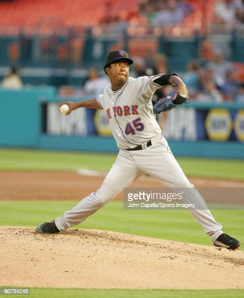 Pedro Martinez of the New York Mets pitches during a game against the Florida Marlins on April 1 2008 in Miami Florida