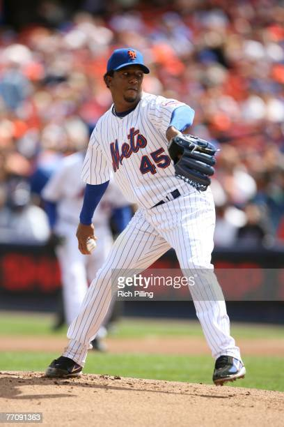 Pedro Martinez of the New York Mets pitches during the game against the Philadelphia Phillies at Shea Stadium in Flushing New York on September 15...