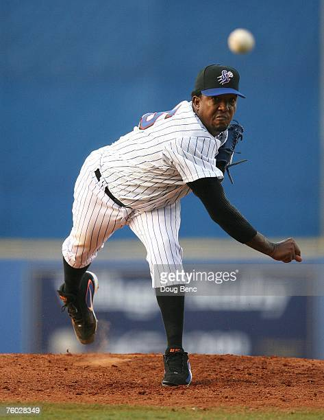 Pedro Martinez of the New York Mets pitches in a rehab start for the Saint Lucie Mets against the Lakeland Tigers at Tradition Field on August 8 2007...