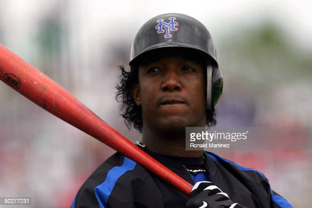 Pedro Martinez of the New York Mets prepares to bat against the St Louis Cardinals during MLB Spring Training action on March 4 2005 at Roger Dean...