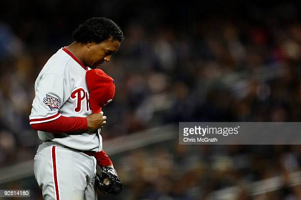 Pedro Martinez of the Philadelphia Phillies looks on before pitching in in Game Two of the 2009 MLB World Series against the New York Yankees at...