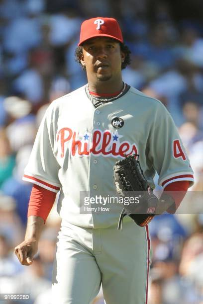 Pedro Martinez of the Philadelphia Phillies pitches against the Los Angeles Dodgers during Game Two of the NLCS during the 2009 MLB Playoffs at...