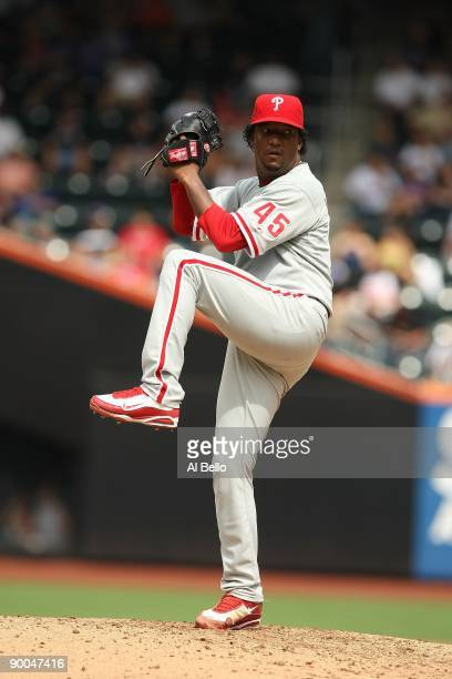 Pedro Martinez of the Philadelphia Phillies pitches against The New York Mets during their game on August 23, 2009 at Citi Field in the Flushing...