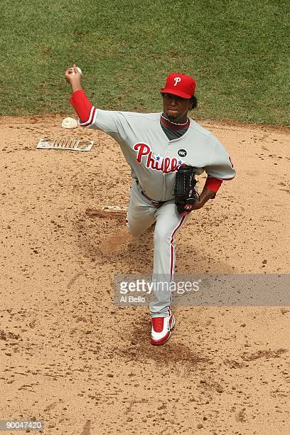Pedro Martinez of the Philadelphia Phillies pitches against The New York Mets during their game on August 23 2009 at Citi Field in the Flushing...