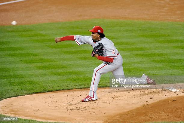Pedro Martinez of the Philadelphia Phillies pitches against the New York Yankees during Game Six of the 2009 MLB World Series at Yankee Stadium on...