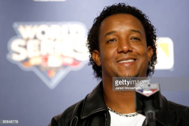Pedro Martinez of the Philadelphia Phillies speaks to the media during a press conference at Yankee Stadium on November 3 2009 in the Bronx borough...