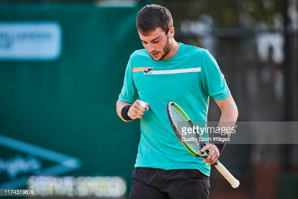 Pedro Martinez Portero of Spain looks on during his round of 16 match against Carlos Alcaraz of Spain on day 3 of ATP Sevilla Challenger at Real Club...