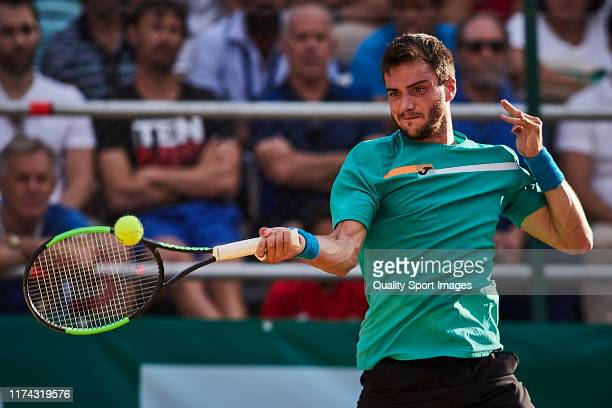 Pedro Martinez Portero of Spain returns the ball during his round of 16 match against Carlos Alcaraz of Spain on day 3 of ATP Sevilla Challenger at...
