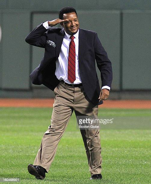 Pedro Martinez salutes the fans The All Fenway Park team is honored in a pregame ceremony before taking on the Tampa Bay Rays in the last home game...