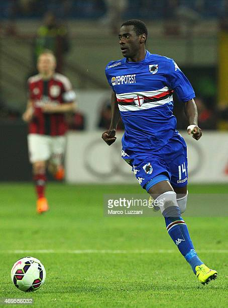Pedro Mba Obiang of UC Sampdoria in action during the Serie A match between AC Milan and UC Sampdoria at Stadio Giuseppe Meazza on April 12 2015 in...