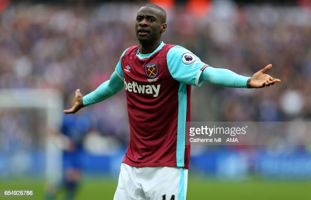 Pedro Mba Obiang of West Ham during the Premier League match between West Ham United and Leicester City at London Stadium on March 18, 2017 in...