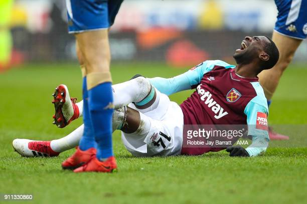 Pedro Mba Obiang of West Ham United reacts after a challenge during the The Emirates FA Cup Fourth Round match between Wigan Athletic and West Ham...