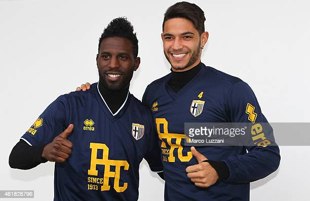 Pedro Mendes and Silvestre Varela of Parma FC before Parma FC training session at the club's training ground on January 20 2015 in Collecchio Italy
