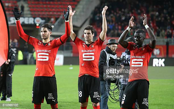 Pedro Mendes Cheikh M'Bengue and Yoann Gourcuff of Rennes celebrate the victory following the French Ligue 1 match between Stade Rennais FC and SCO...