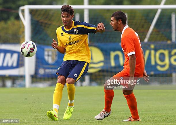 Pedro Mendes of FC Parma competes for the ball during FC Parma Training Session at the club's training ground on July 24 2014 in Collecchio Italy