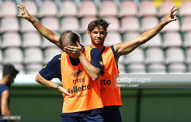 Pedro Mendes of FC Parma gestures during an FC Parma Training Session on August 4 2014 in Avellino Italy