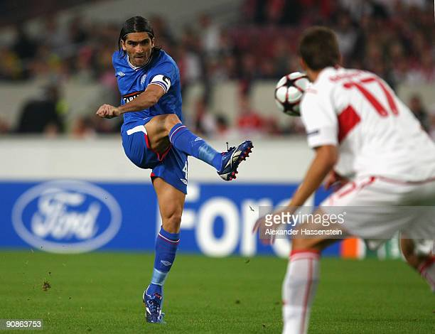 Pedro Mendes of Glasgow battles for the ball during the UEFA Champions League Group G match between VfB Stuttgart and Rangers FC on September 16 2009...