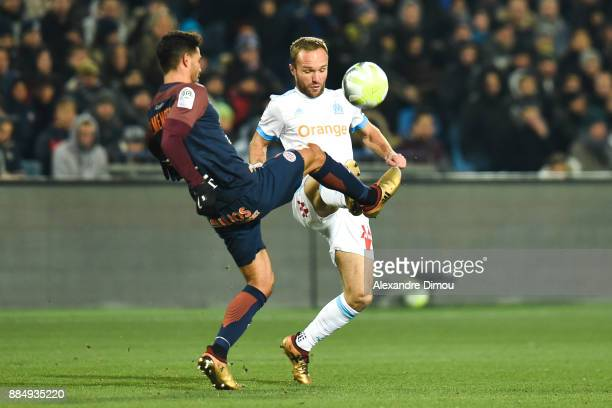 Pedro Mendes of Montpellier and Valere Germain of Marseille during the Ligue 1 match between Montpellier Herault SC and Olympique Marseille at Stade...