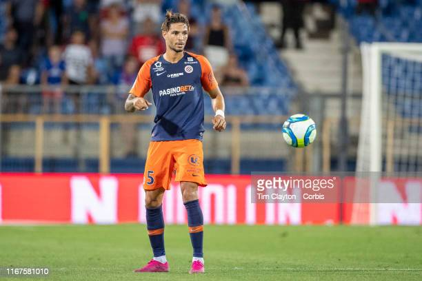 August 10: Pedro Mendes of Montpellier in acton during the Montpellier Vs Stade Rennes, French Ligue 1 regular season match at Stade de la Mosson on...