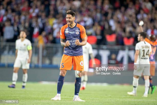 Pedro Mendes of Montpellier reacts to Montpellieru2019s win at the full time whistle during the Montpellier Vs Paris SaintGermain French Ligue 1...