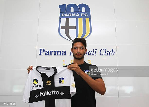 Pedro Mendes of Parma FC poses with the club shirt during FC Parma Training Session at the club's training ground on July 19 2013 in Collecchio Italy