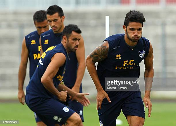 Pedro Mendes of Parma FC runs during FC Parma Training Session at Stadio Barbetti on August 9 2013 in Gubbio Italy