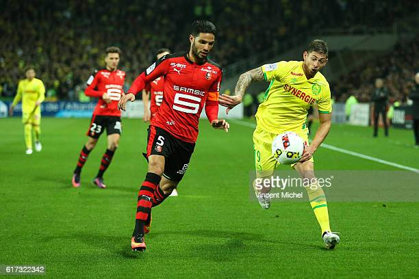 Pedro Mendes of Rennes and Emiliano Sala of Nantes during the Ligue 1 match between FC Nantes and Stade Rennais at Stade de la Beaujoire on October...